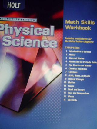 science spectrum physical science math skills workbook p 0030670845 textbook and. Black Bedroom Furniture Sets. Home Design Ideas