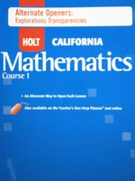 California Mathematics Course 1 Alternate Openers (CA)(P)