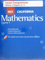 California Mathematics Course 1 Lesson Transparencies (Pk)