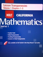 California Mathematics Course 1 Lesson Transparencies 1 (P)