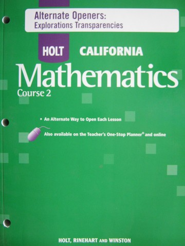 California Mathematics Course 2 Alternate Openers (CA)(P)