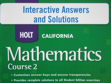 California Mathematics Course 2 Interactive Answers (CD)