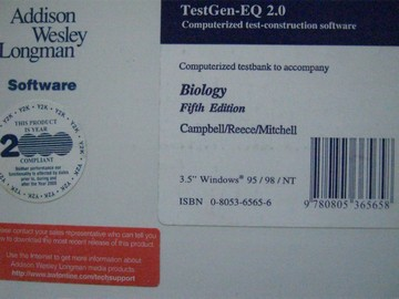 Biology 5th Edition TestGen-EQ 2.0 Computerized Testbank (Box)