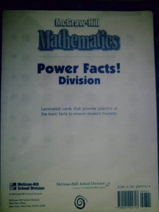 McGraw-Hill Mathematics Power Facts! Division Laminated Card(PK)