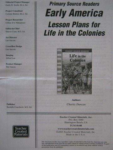 Primary Source Readers Early America Life in the Colonies LP (P)