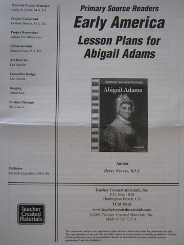 Primary Source Readers Early America Abigail Adams LP (P)
