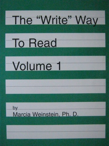 """Write"" Way to Read Volume 1 (P) by Marcia Weinstein"