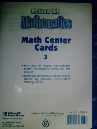 McGraw-Hill Mathematics 3 Math Center Cards (Pk)