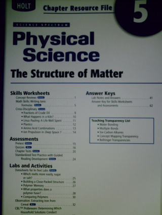 Science Spectrum Physical Science Chapter Resource File 5 (P)