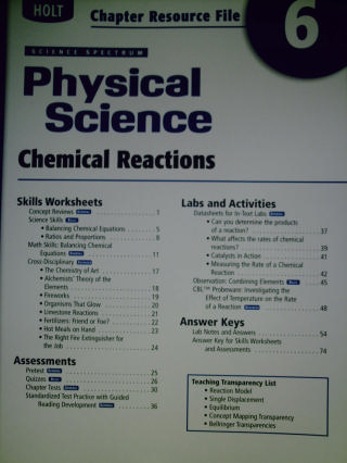 Science Spectrum Physical Science Chapter Resource File 6 (P)