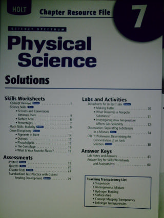 Science Spectrum Physical Science Chapter Resource File 7 (P)