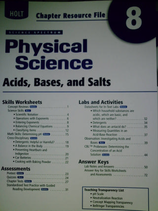 Science Spectrum Physical Science Chapter Resource File 8 (P)