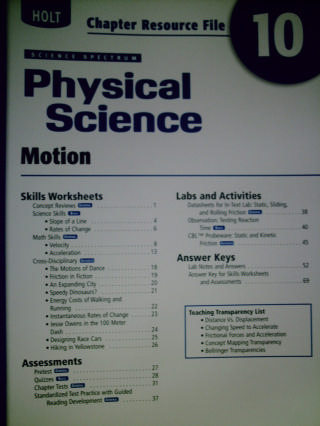Science Spectrum Physical Science Chapter Resource 10 (P)