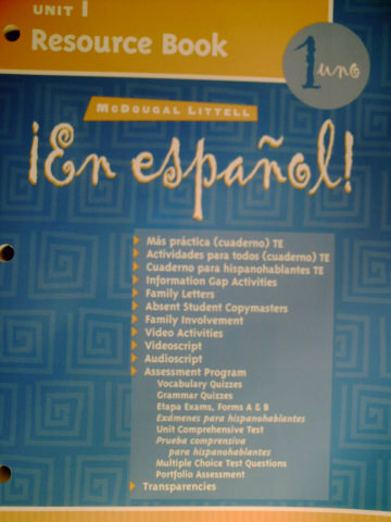 En espanol! 1uno Unit 1 Resource Book (P)