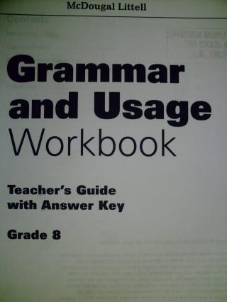 Grammar & Usage 8 Workbook Teacher's Guide with Answer (TE)(P)