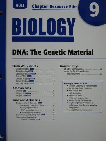 holt biology chapter resource file 9 p 0030413737 k 12 quality used textbooks. Black Bedroom Furniture Sets. Home Design Ideas