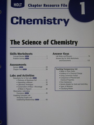 California chemistry standards review workbook (ca)(p)
