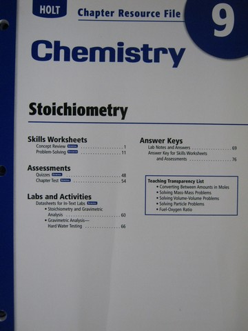 Holt chemistry stoichiometry worksheet answers
