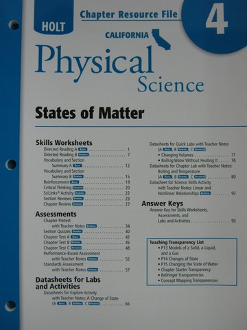 California Physical Science Chapter Resource File 4 Ca P