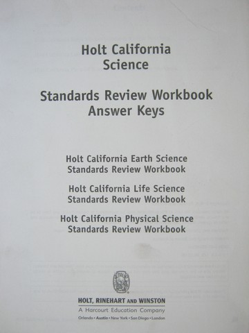 California Science Standards Review Workbook Answer Keys (P)