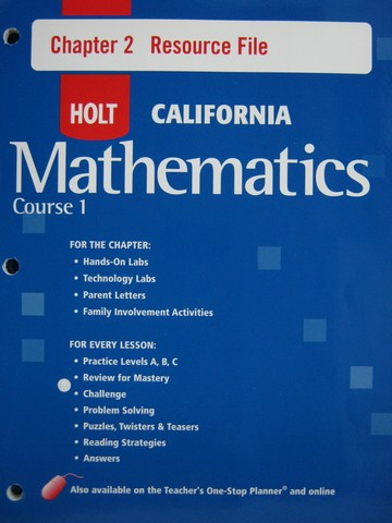 California Mathematics Course 1 Chapter 2 Resource File (P)