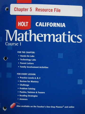 California Mathematics Course 1 Chapter 5 Resource File (P)