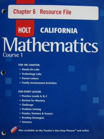 California Mathematics Course 1 Chapter 6 Resource File (P)