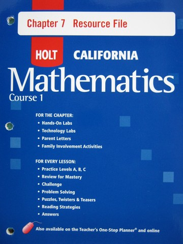 California Mathematics Course 1 Chapter 7 Resource File (P)
