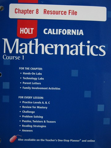California Mathematics Course 1 Chapter 8 Resource File (P)