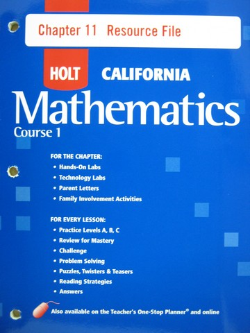 California Mathematics Course 1 Chapter 11 Resource File (P)