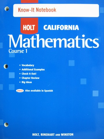 California Mathematics Course 1 Know-It Notebook (CA)(P)