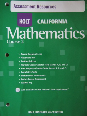 California Mathematics Course 2 Assessment Resources (P)
