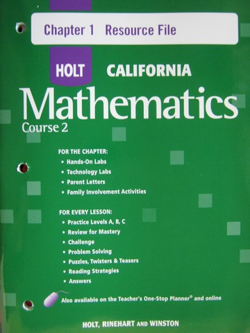 California Mathematics Course 2 Chapter 1 Resource File (P)