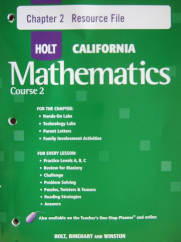 California Mathematics Course 2 Chapter 2 Resource File (P)