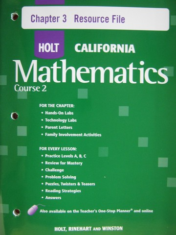 California Mathematics Course 2 Chapter 3 Resource File (P)