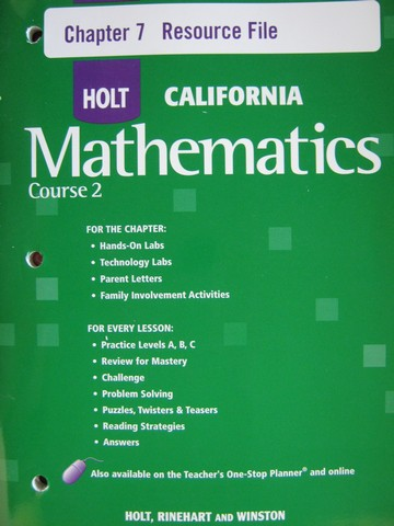 California Mathematics Course 2 Chapter 7 Resource File (P)