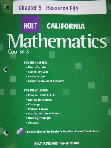California Mathematics Course 2 Chapter 9 Resource File (P)