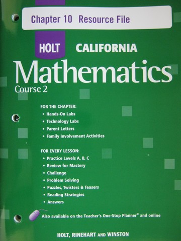 California Mathematics Course 2 Chapter 10 Resource File (P)