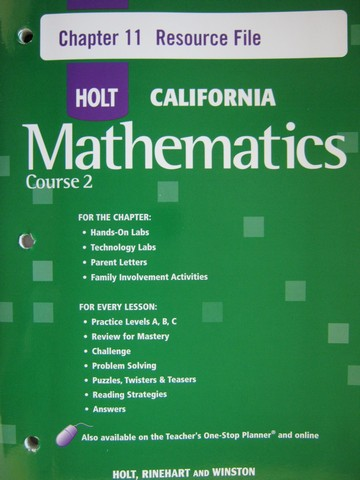 California Mathematics Course 2 Chapter 11 Resource File (P)