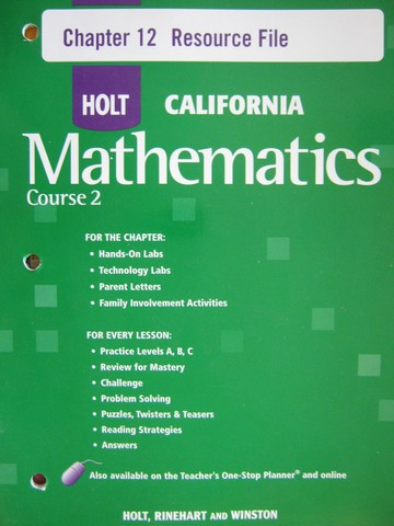 California Mathematics Course 2 Chapter 12 Resource File (P)