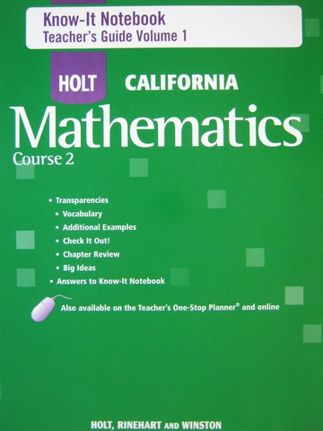 California Mathematics Course 2 Know-It Notebook TG 1 (TE)(P)