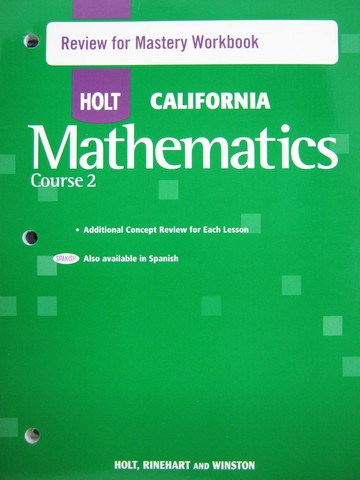 California Mathematics Course 2 Review for Mastery (CA)(P)