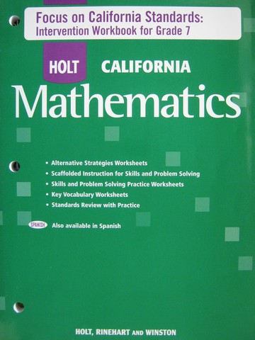 :: Holt California Mathematics Course 2 Intervention Workbook (P