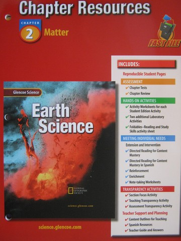 glencoe earth science chapter resources 3 p 0078269342 k 12 quality used. Black Bedroom Furniture Sets. Home Design Ideas