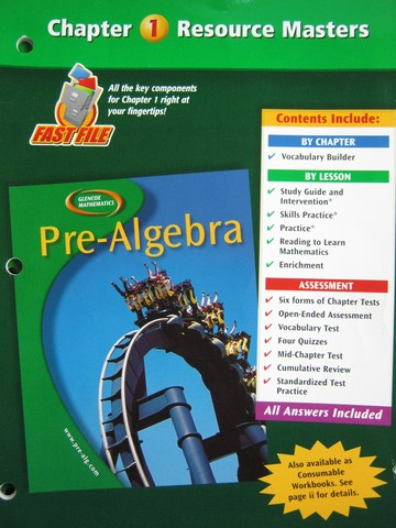 Glencoe Mathematics Pre-Algebra Chapter 1 Resource Masters (P)