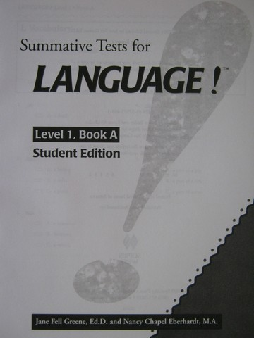 Language! 2nd Edition 1A Summative Test Student Edition (P)