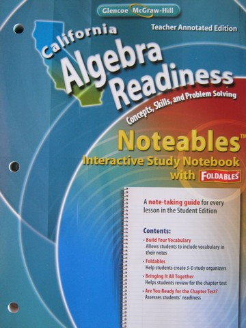 California Algebra Readiness Noteables TAE (CA)(TE)(P)