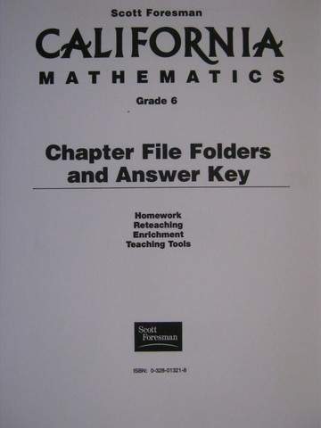 California Mathematics 6 Chapter File Folders & Answer Key (Pk)