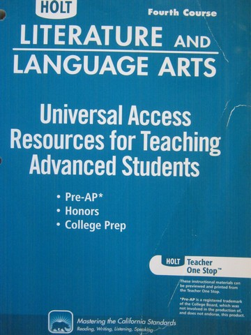 Resources for Teaching Advanced Students 4th Course (P)