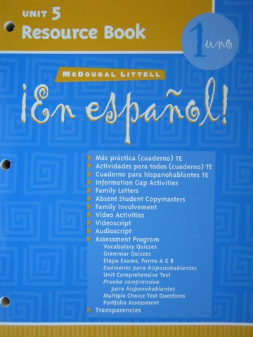 En espanol! 1uno Unit 5 Resource Book (P)